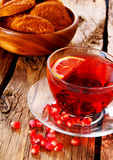Pomegranate tea with Cookies. Royalty Free Stock Photography