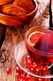 Pomegranate tea with Cookies. Royalty Free Stock Image