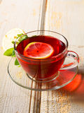 Pomegranate tea with lemon. Stock Photo