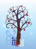 Pomegranate tree, Christmas, winter background. With snowflakes and gifts Stock Photos