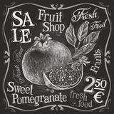 Pomegranate vector logo design template. fresh Royalty Free Stock Photos