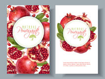 Pomegranate vertical round banners. Vector vertical banners with pomegranate fruits on white background. Design for cosmetics, spa, pomegranate juice, health Stock Photo