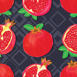Pomegranate watercolor diamond seamless pattern Stock Images