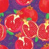 Pomegranate watercolor seamless pattern Stock Photo