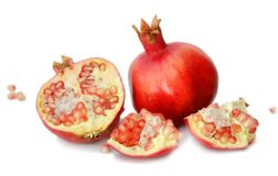Pomegranate  on white background. Pomegranate isolated on white background Royalty Free Stock Image