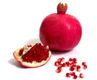 Pomegranate on a white background Stock Photos