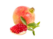 Pomegranate  on white background. With Clipping path Royalty Free Stock Photos