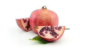 Pomegranate  on white background stock footage