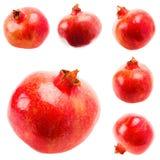 Pomegranate On White Background, Set, Collage Stock Photo
