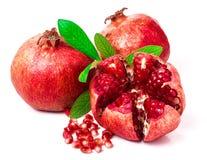 Pomegranate on white background. Three pomegranate on white background royalty free stock images