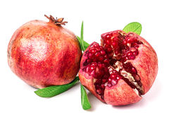 Pomegranate on white background. Two pomegranate on white background stock photo