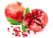 Pomegranate on white background. Two pomegranate on white background stock photography
