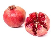 Pomegranate on white background. Two pomegranate on white background royalty free stock photos