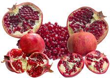 Pomegranate on white background. Pomegranate  Vitamin  Tropical  Sweet  Delicious  Summer  Red  Seed  Raw Material royalty free stock photos
