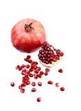 Pomegranate on white isolated Stock Photos
