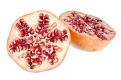 Pomegranate on white with path. Pomegranate closeup on white background with path Stock Photos