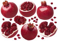 Pomegranate whole and pieces set. Isolated on white background stock image