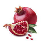 Pomegranate whole and quarter piece isolated on white background royalty free stock photos