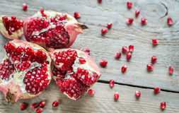Pomegranate on the wooden background Stock Photo