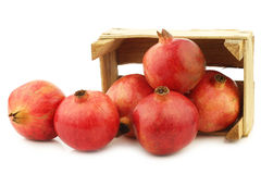 Pomegranate & x28;Punica granatum& x29; in a wooden crate Stock Images