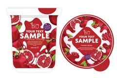 Pomegranate Yogurt Packaging Design Template. Stock Photos