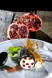 Pomegranateefterrätt Fotografering för Bildbyråer