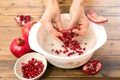 Pomegranatefrö bevattnar in royaltyfri foto