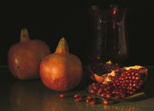 Pomegranates. Still-life with pomegranates stock photos