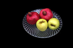 Pomegranates and apples symbols of the Jewish new year (Rosh HaS. Pomegranates are traditional symbol of Jewish new year symbolizing many good deeds as the seeds Royalty Free Stock Images