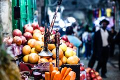 Pomegranates bunch at old town Jerusalem. Israel. Royalty Free Stock Photo
