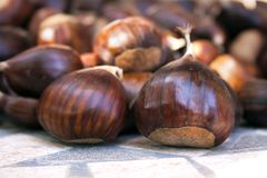 Pomegranates and chestnuts in autumn. Sweet chestnut browns are one of the symbols of the fall season Stock Photo