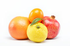 Pomegranates and citrus fruits . Pomegranates and citrus fruits  on a white background Stock Images