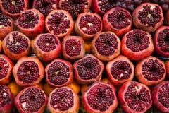 Pomegranates. Cut pomegranates on streets of Istanbul Stock Images