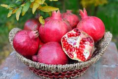 Pomegranates. Fresh nature vitamin Stock Image