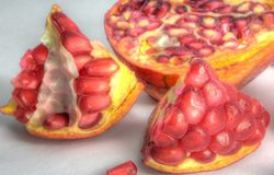Pomegranates in HDR. Pomegranates fruit closed up in HDR Royalty Free Stock Photo