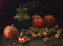 Pomegranates and nuts. Still-life with pomegranates and nuts stock images