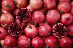 Pomegranates Packed in Shipping Crate Royalty Free Stock Photos