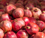 Pomegranates. A pile of fresh pomegranates at the Clement Street Farmers Market in San Francisco Stock Images
