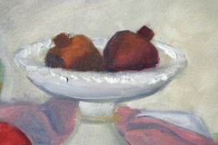 Pomegranates in plate painting Stock Photo