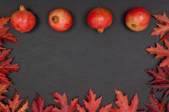Pomegranates in row and frame of leaves on grey background Stock Photo