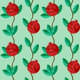Crystal polygonal Pomegranates seamless pattern, green floral background. Pomegranates seamless pattern. Vector illustration. Made with polygons like a crystal stock illustration