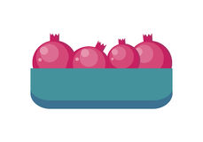 Pomegranates in Tray Flat Design Illustration. Pomegranates in tray vector in flat style design. Grocery store assortment, foods for diet, fresh fruits concept Stock Image