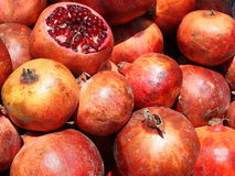 Pomegranates in a Turkish fruit market. Delicious pomegranates ready to be sold in a Turkish fruit market Stock Images