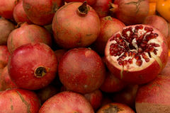 Pomegranates whole and sliced Royalty Free Stock Photography
