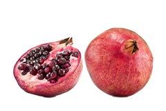 Pomegwhole and cut pomegranate. Whole and cut pomegranate fruit isolated on white background stock photos