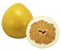 Pomelo. Whole and a half of pummelo fruit stock images