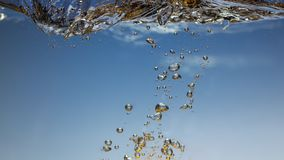 Pomelo fresco con el chapoteo del agua en cierre azul del fondo para arriba foto de archivo libre de regalías