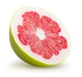 Pomelo fruit. A half of pomelo fruit on white background. Clipping path included royalty free stock image