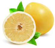 Pomelo with half of pomelo isolated on the white background Royalty Free Stock Photos