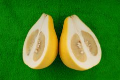 Pomelo lie on green towel Stock Images